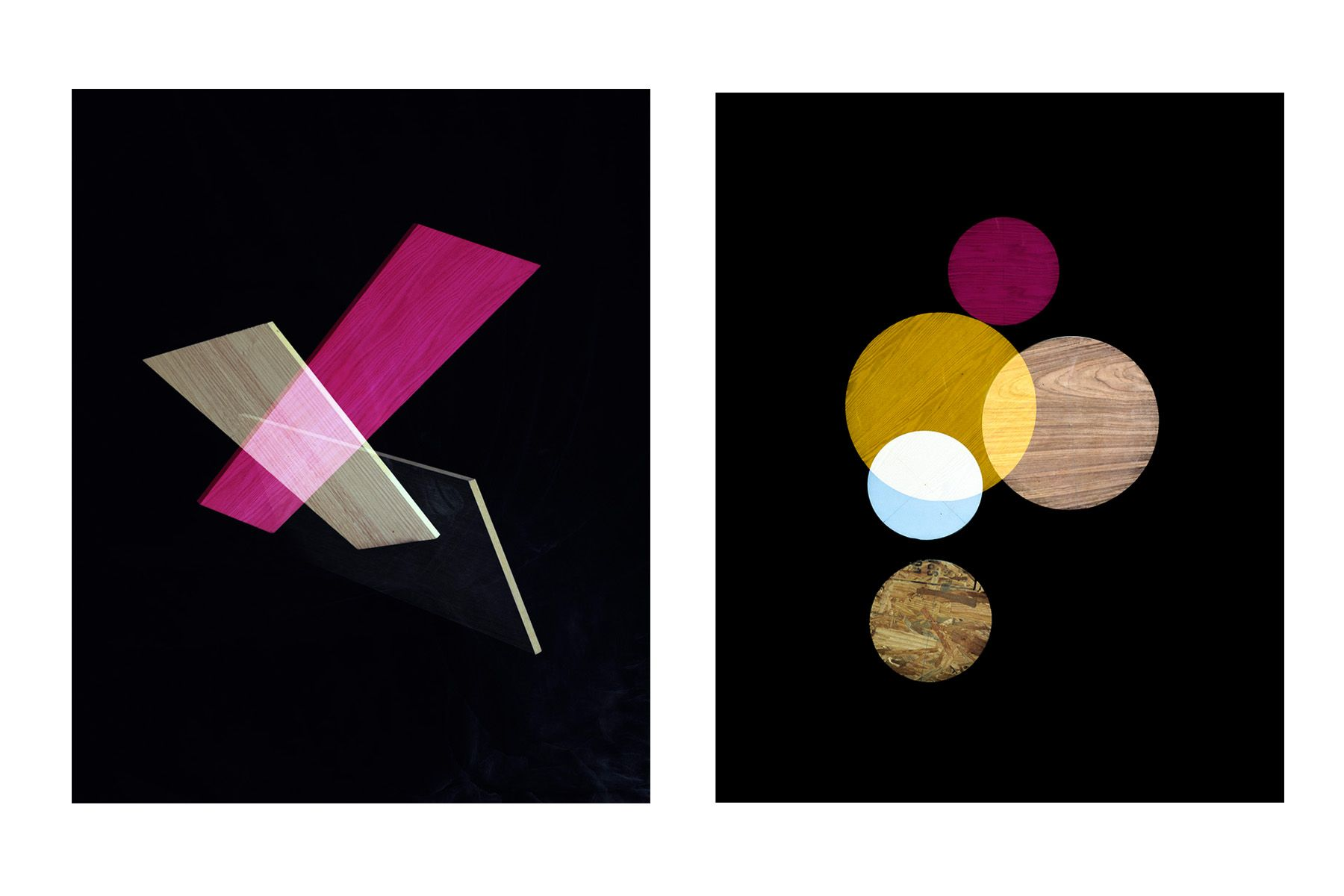 Magenta, 2014 (left) ; Pink, Yellow, White Circles, 2014 (right)