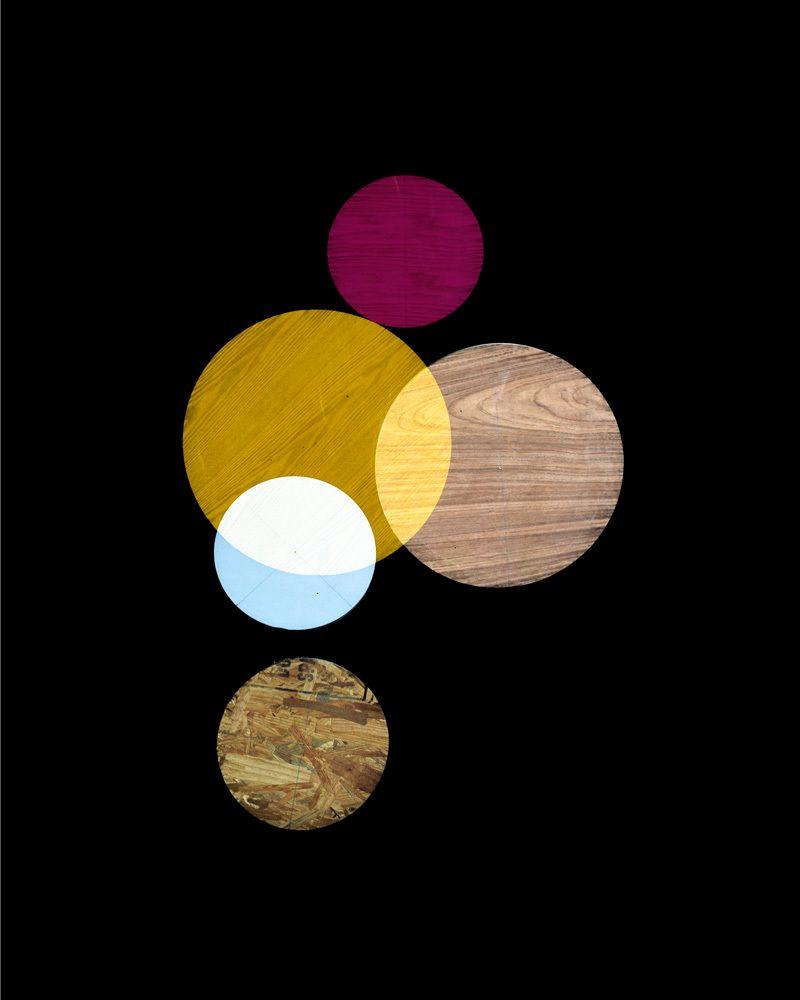 Pink, yellow, white circles, 2014