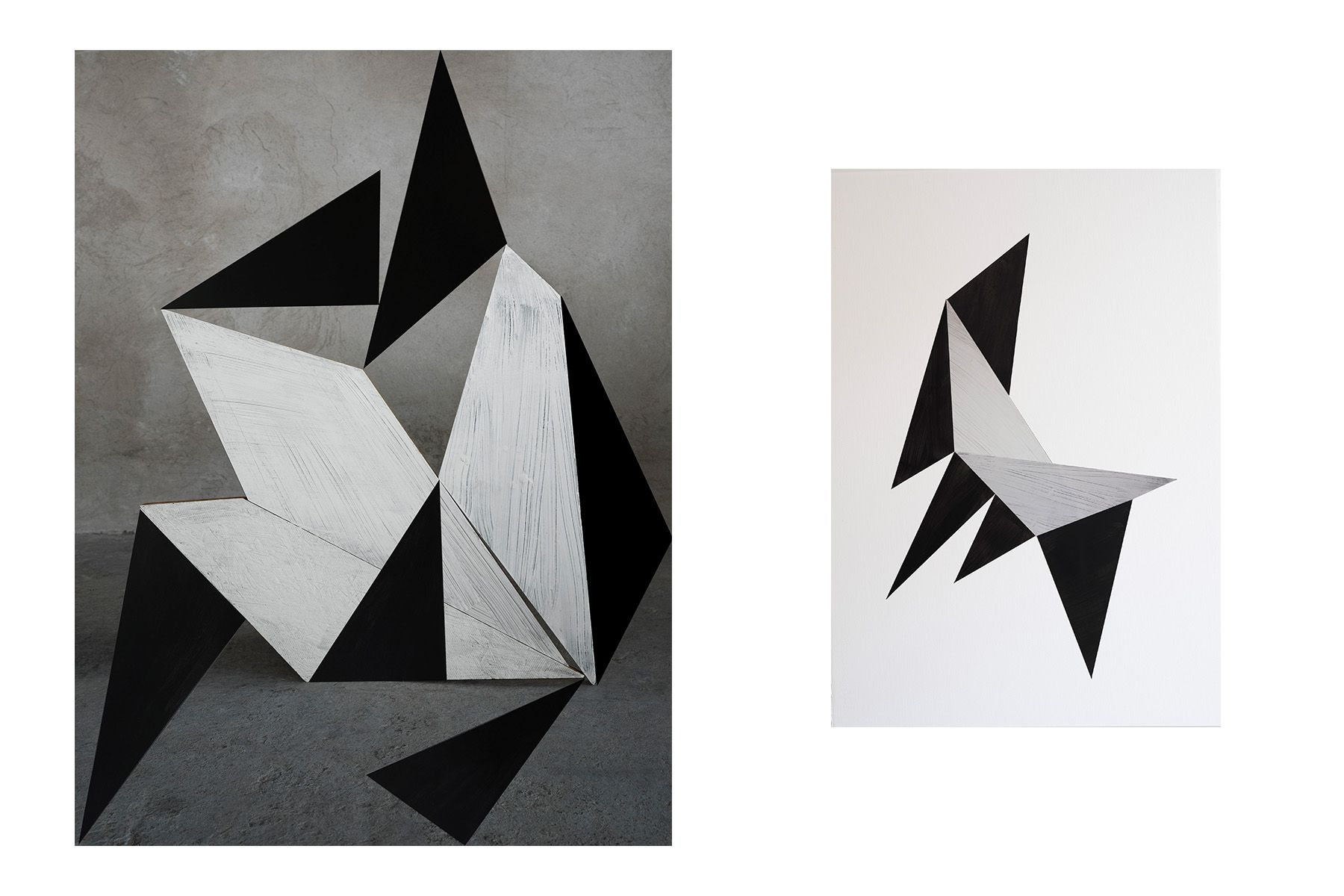 Stacking Composition in Black, 2019 (left) / Midnight Origami, 2019 (right)