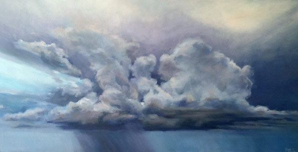 "Stormcloud over Mobile BayOil on canvas, 18"" x 36"""