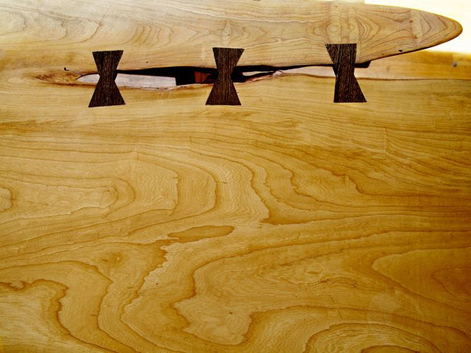 Butterfly detail: Table crafted from 300-year old 'Baker Elm' from East Hampton village