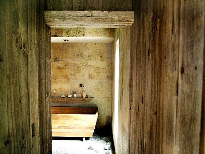 Barnboard hall and doorway: Montauk photographer's house