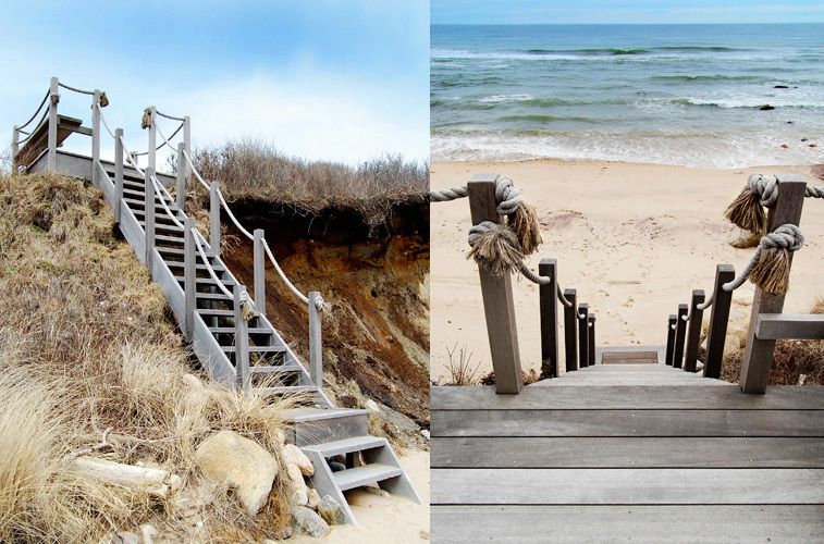 Teak stairs to beach, architect's  80-acre Montauk oceanfront cottage compound