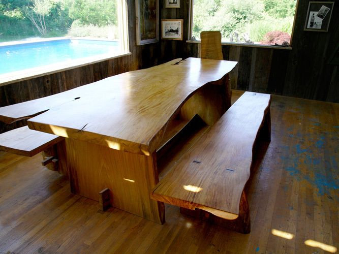 Mortise and tenon table and benches crafted from 300-year old 'Baker Elm' from East Hampton village