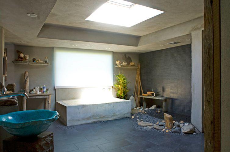 Master bathroom renovation. Cement tub, custom stone work: Montauk photographer's house