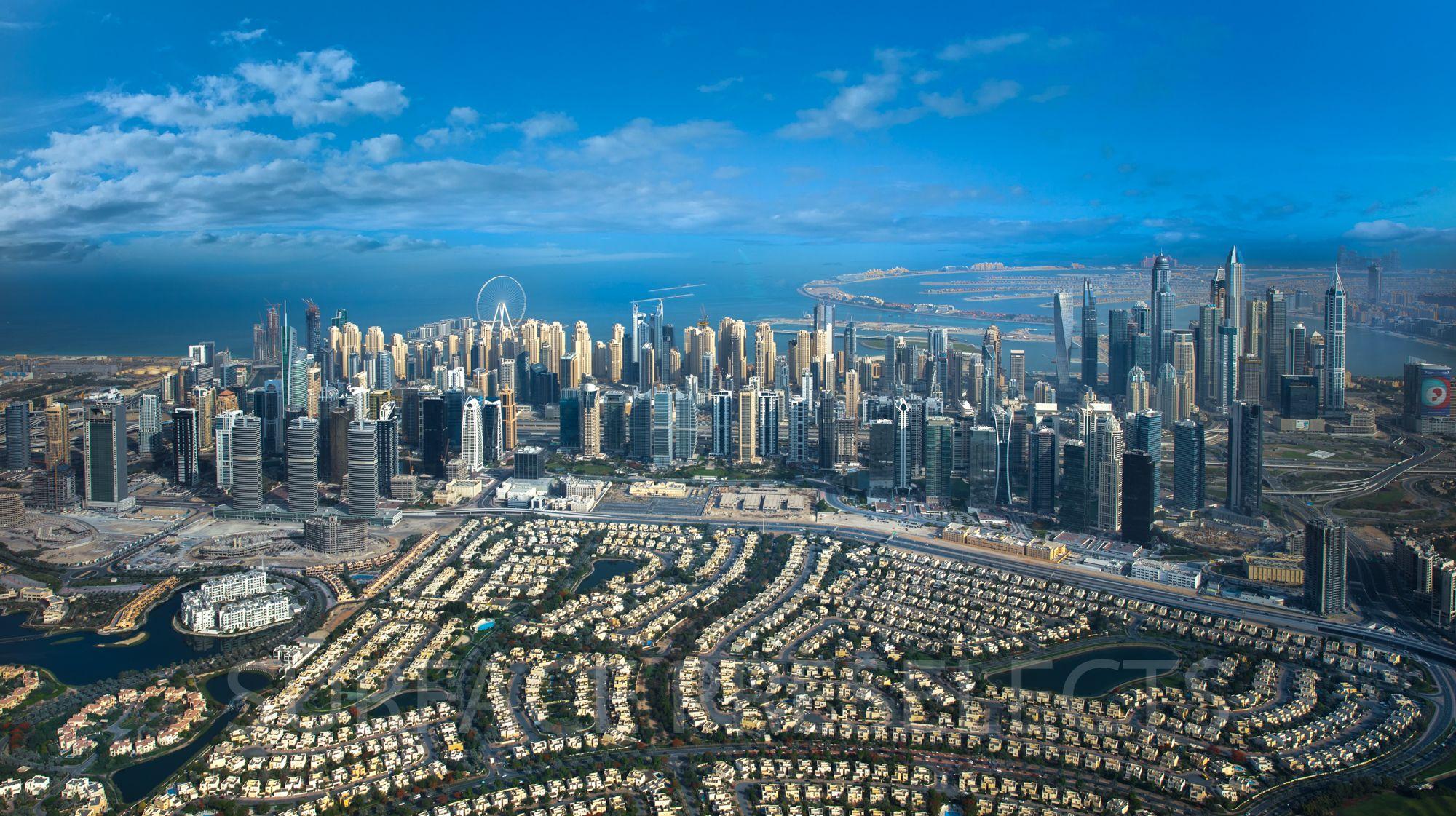 Dubai JLT and Marina Aerial Pano