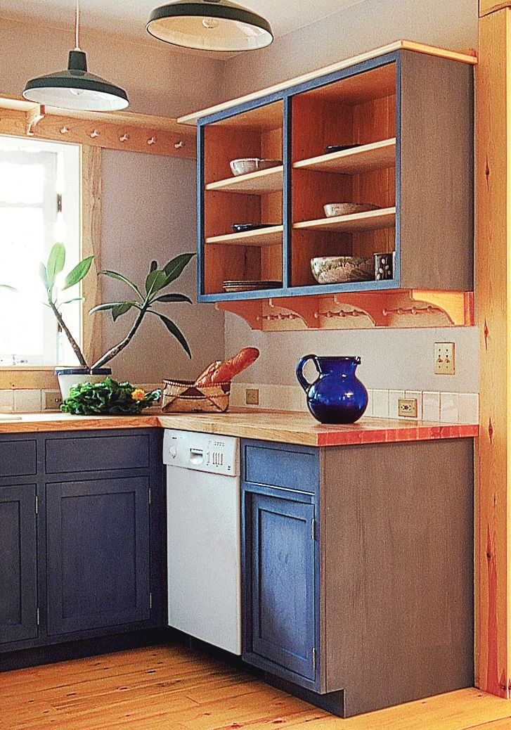 House on the meadow blue milk painted cabinetry and shaker open shelving