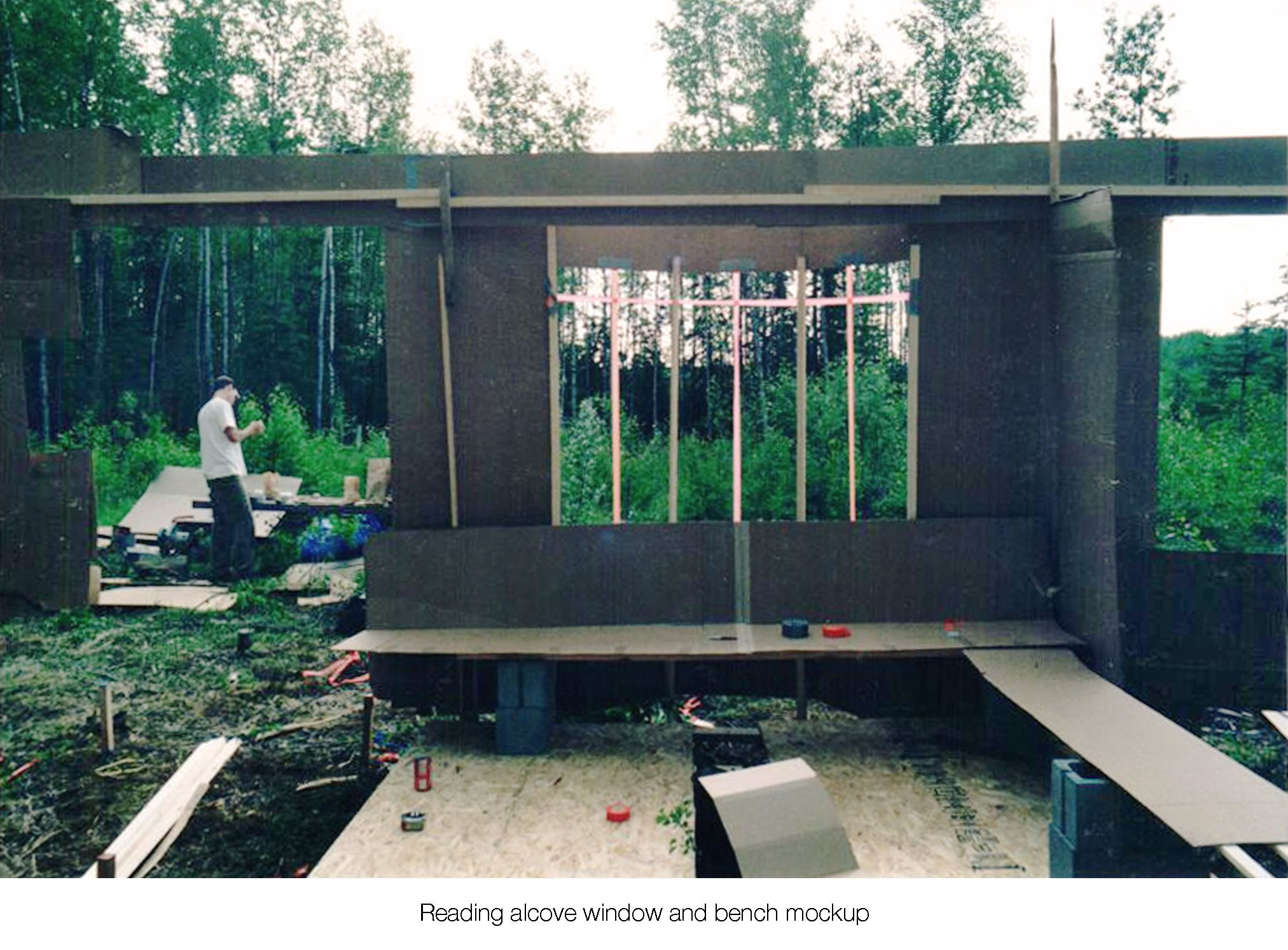 House on the meadow reading alcove on site window design and sitting bench mock-up