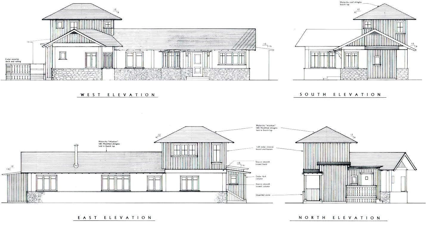 House on the meadow exterior elevation drawings