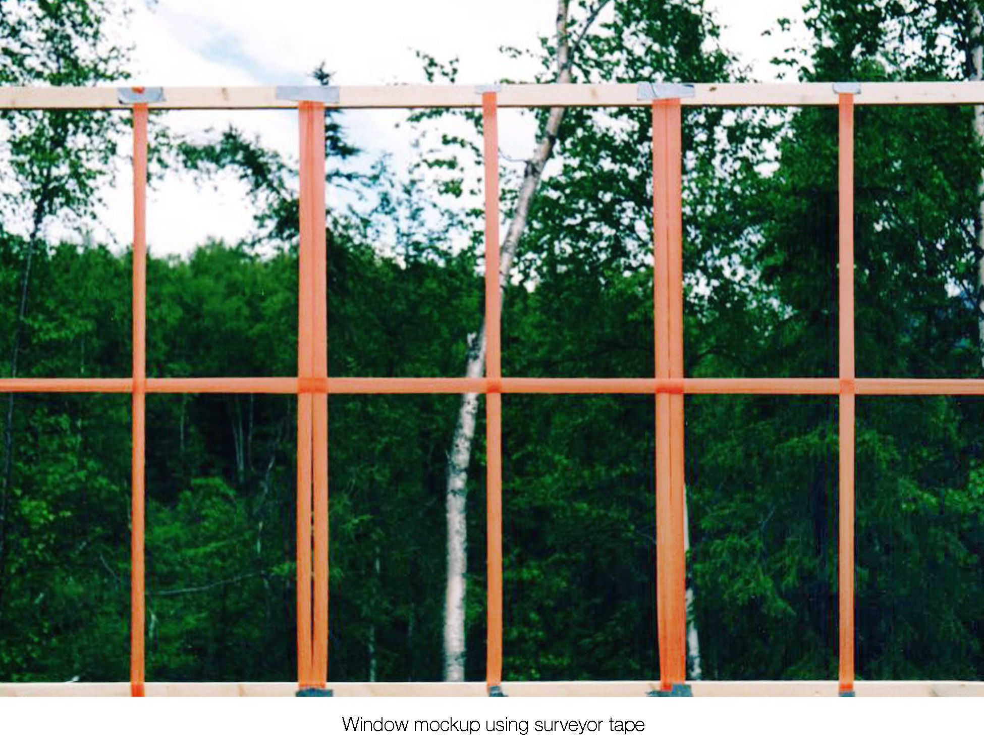 House on the meadow kitchen on site window design mock-up using surveyor tape and cardboard