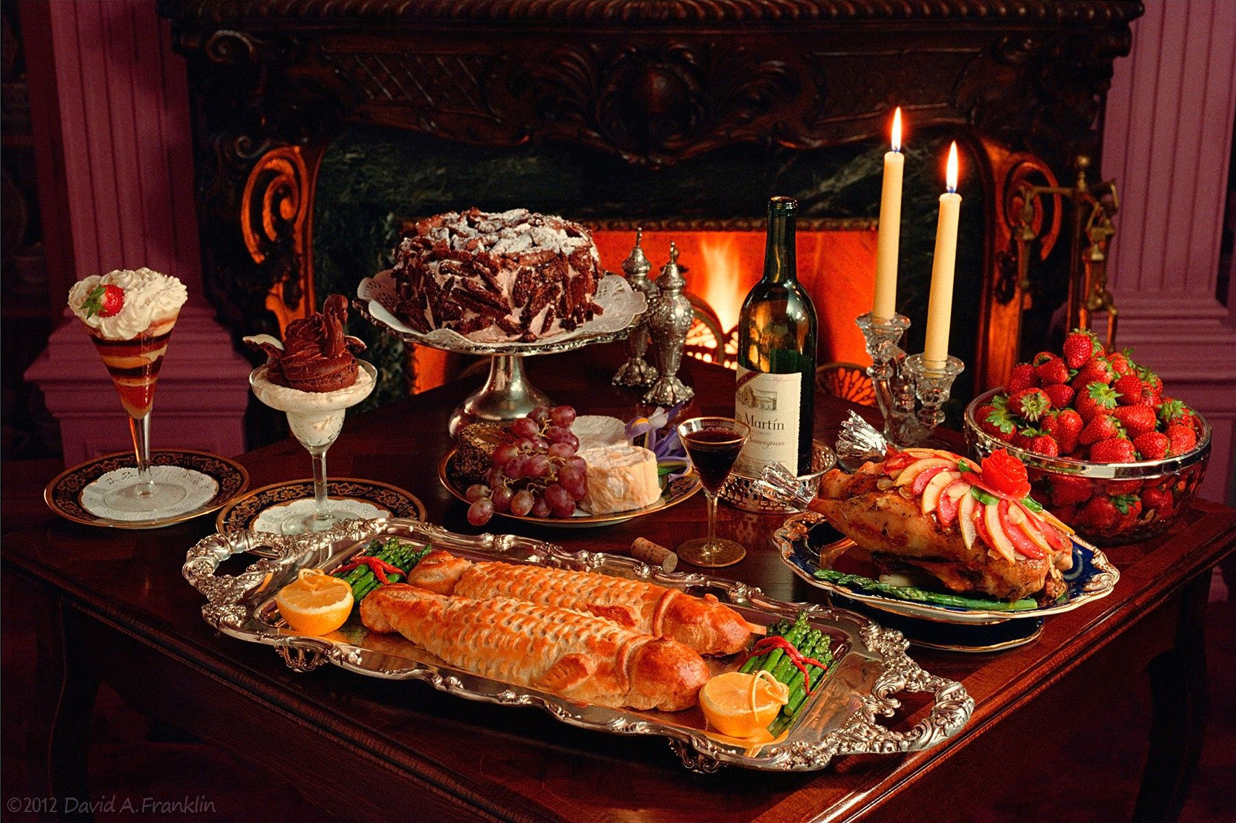 FishDuck&MoreOnTable_BurningFireplace_VanDykeHouse_Editorial