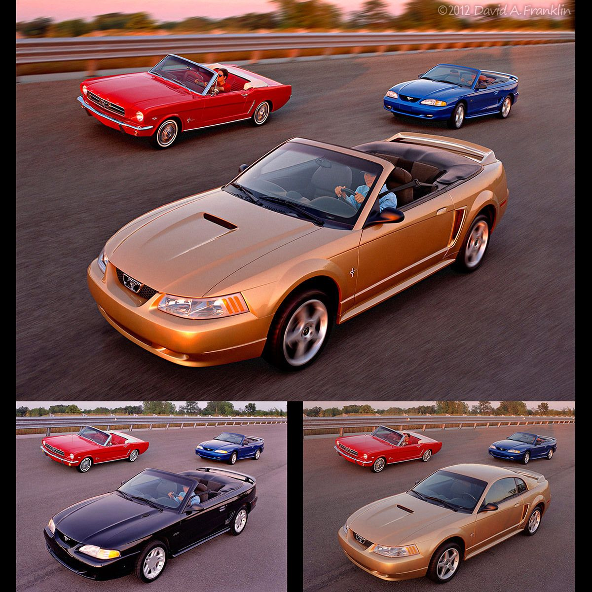 Retouching_3generationsOfMustangs_HardtopChangesToConvertible_CreatedAction_OnTrack