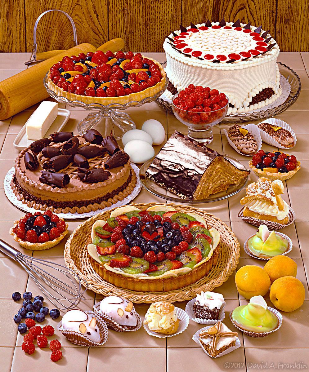 ManyDifferentDesserts&Ingrediants_OnTiledTableTop_Editorial