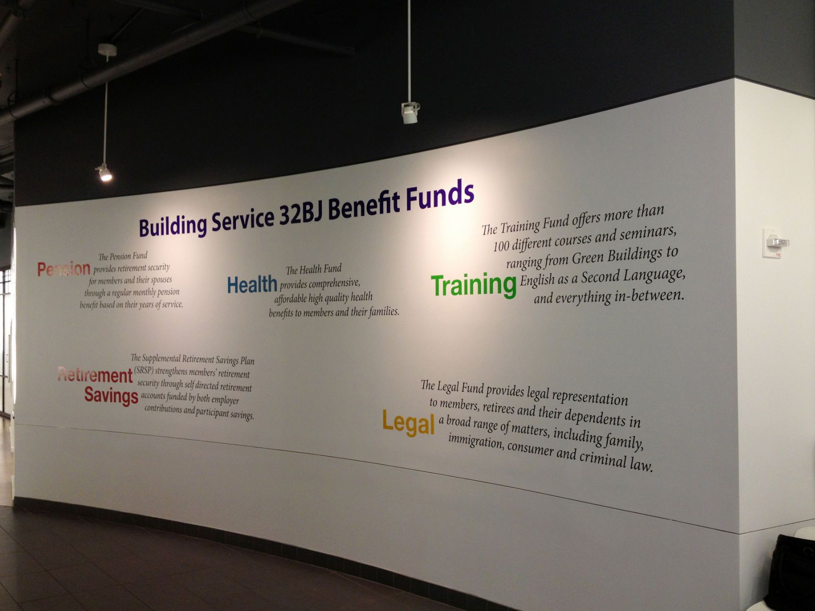 Graphic Text Wall Installation at 32BJ