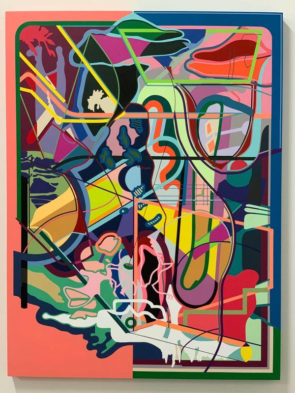 Alexandra Seiler, Tropic Upheaval, 2019, acrylic on panel, 40 x 30 inches.JPG