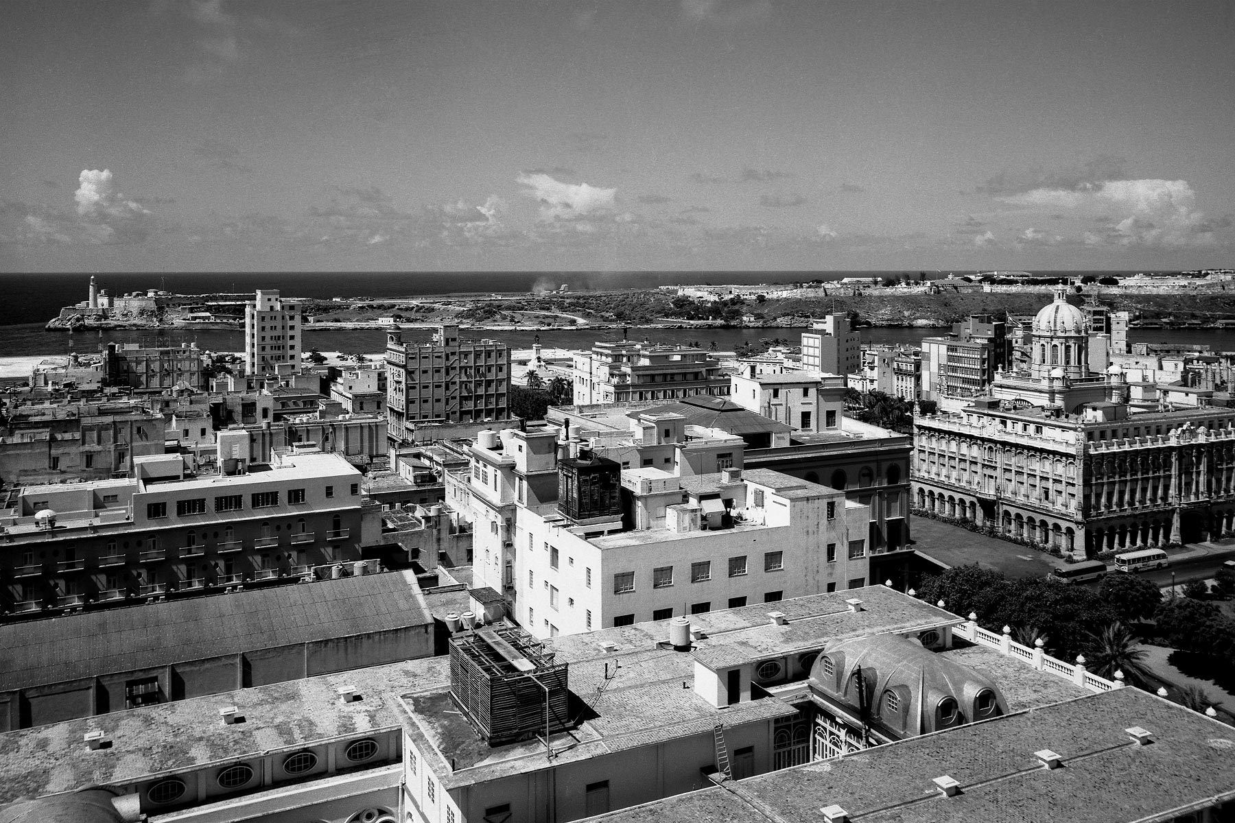 Morro Castle and Presidential Palace skyline view 1954