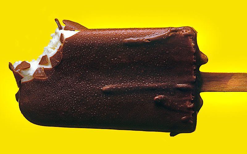 chocolate ice cream pop on yellow kiyoshi togashi