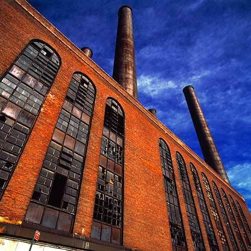 factory with smoke stacks