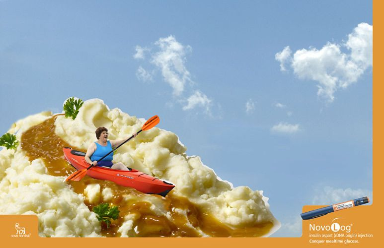 mashed potatoes and gravy for novo log ad