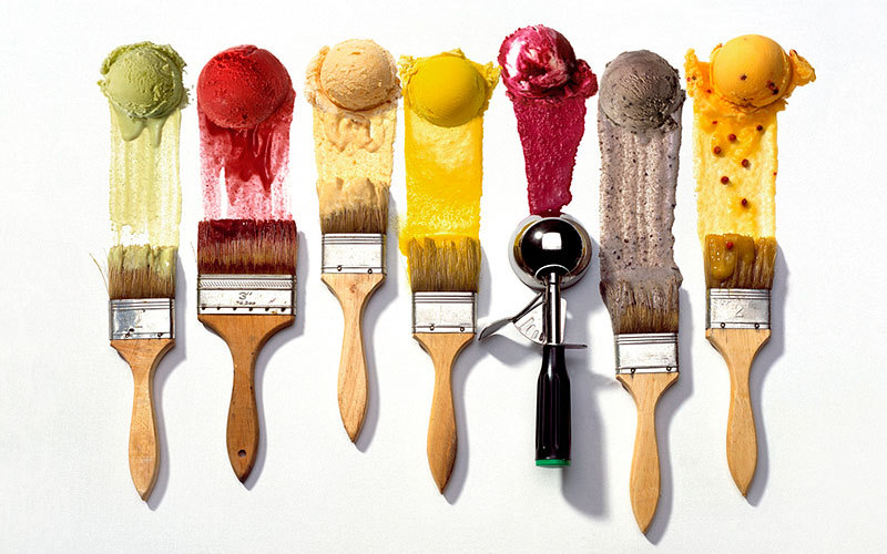 ice cream scoops paint brushes kiyoshi togashi