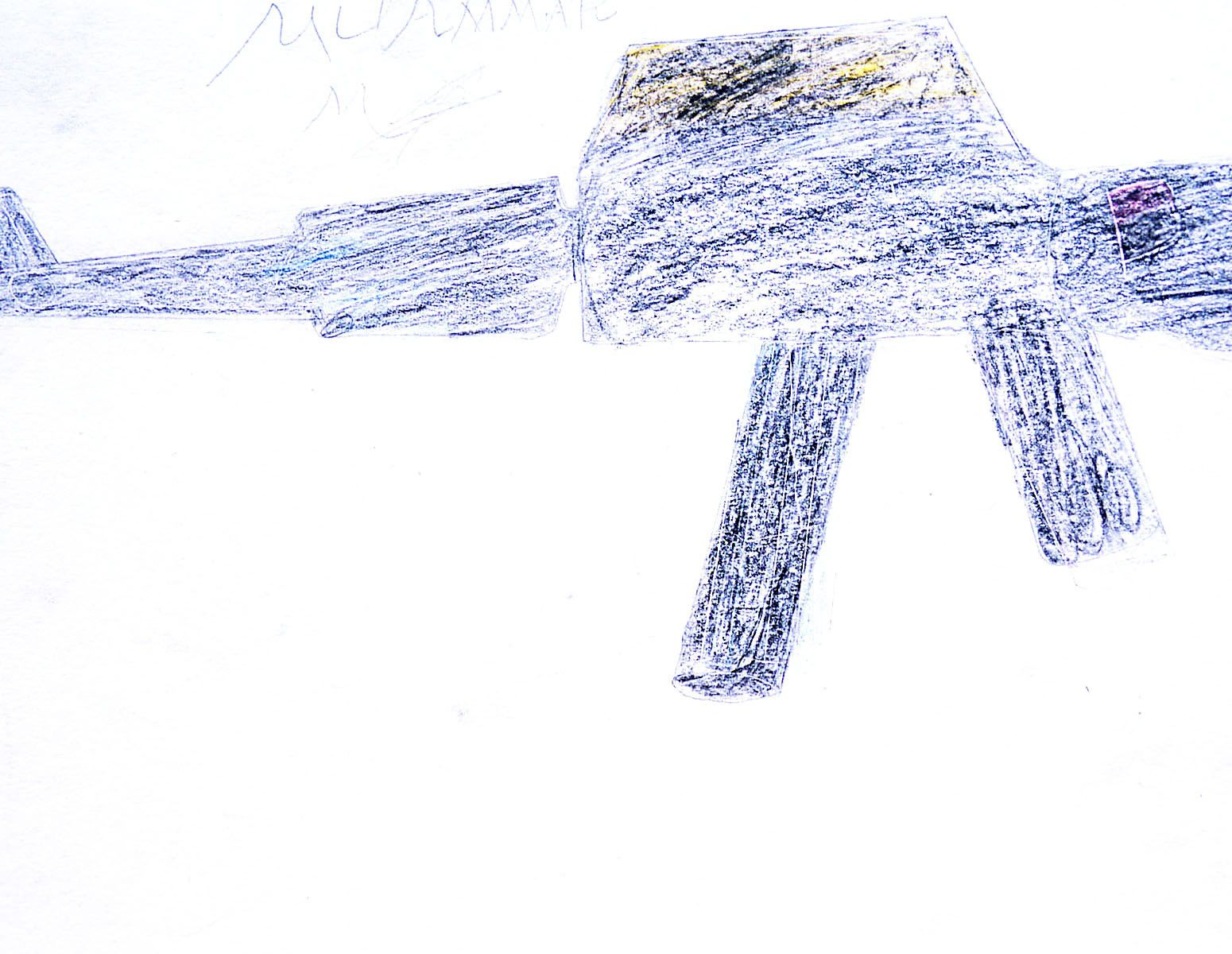 Drawn by a young boy living in a refugee camp.He painted what he saw in his village.
