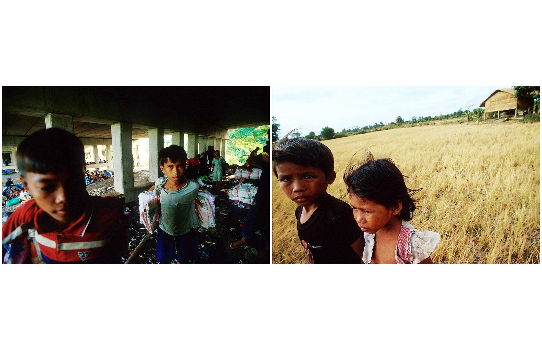 Left: Children work as smuggler at Thai border. Most of them are victim of child trafficking near Poipet. Right: Living in poverty.