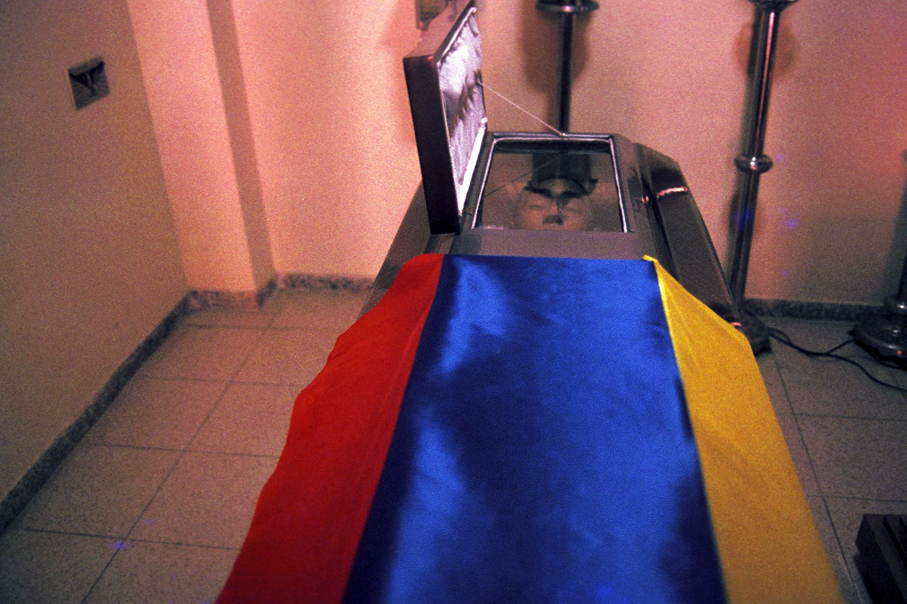 A coffin of the National Army of Colombia.