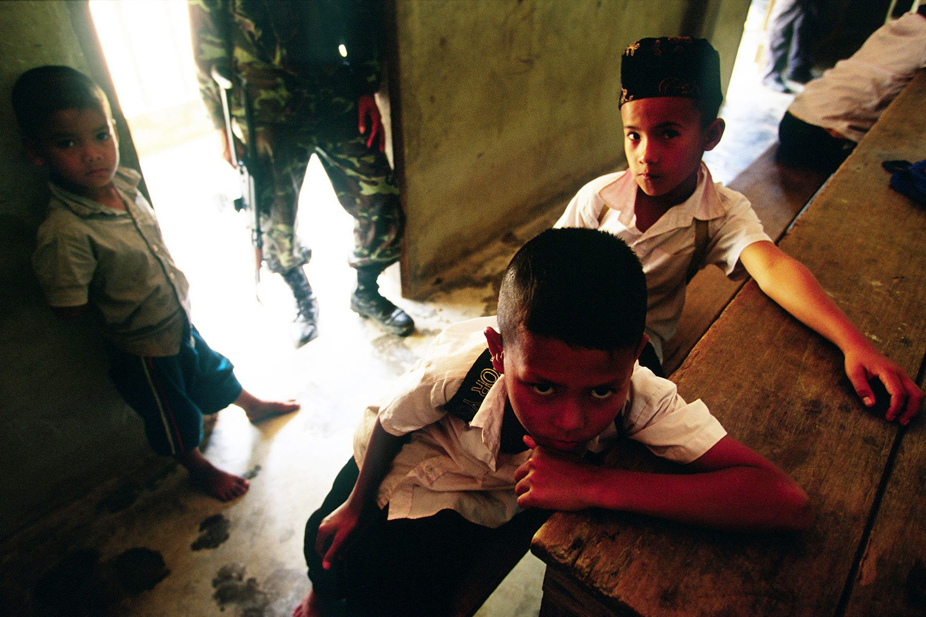 A soldier inside Muslim religious school.