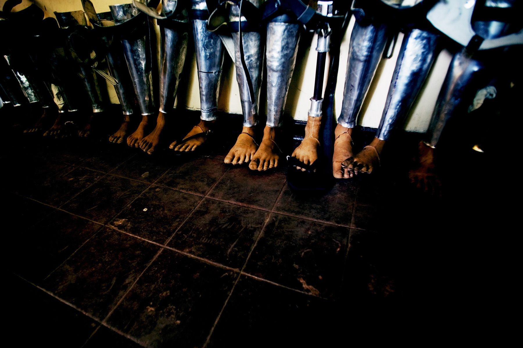 Artificial legs at a rehabilitation center for war victims.