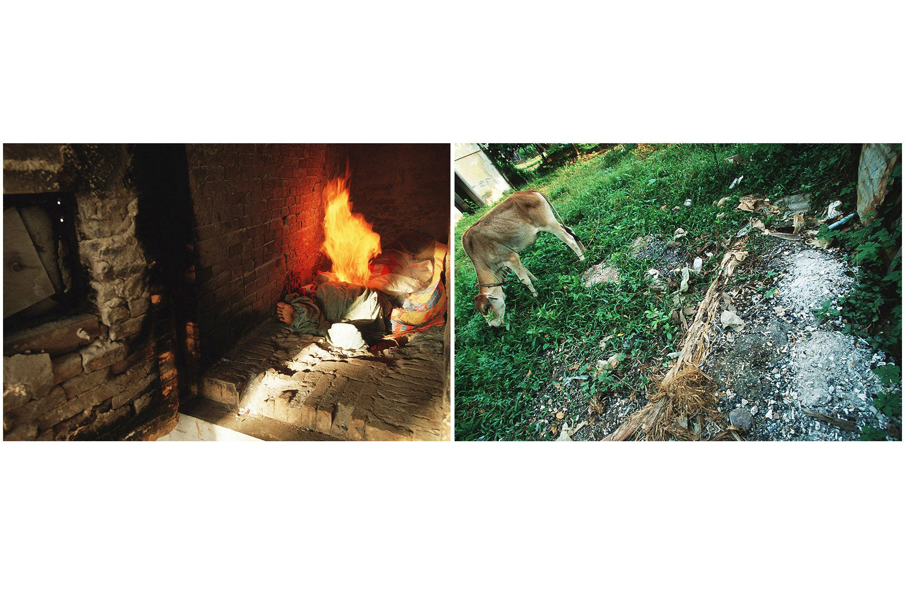Left: A cremation of Aids patient. Right: Ashes of Aids patient were throw away in backyard.