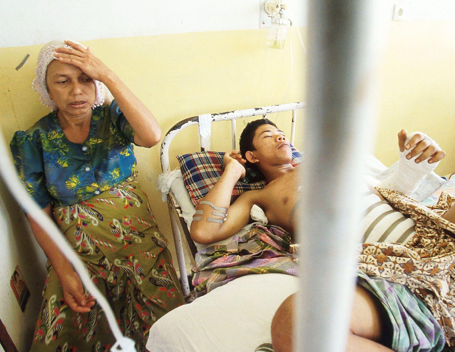 A tortured victim.Zainal Abidin hospital.