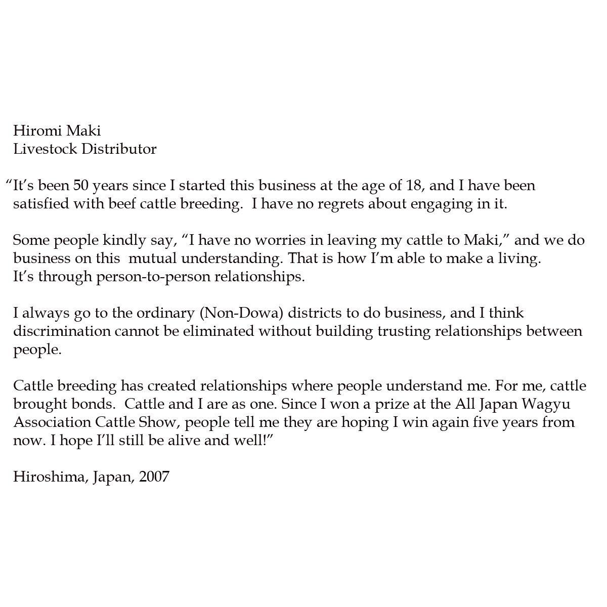 Hiromi Maki. Livestock Distributor.