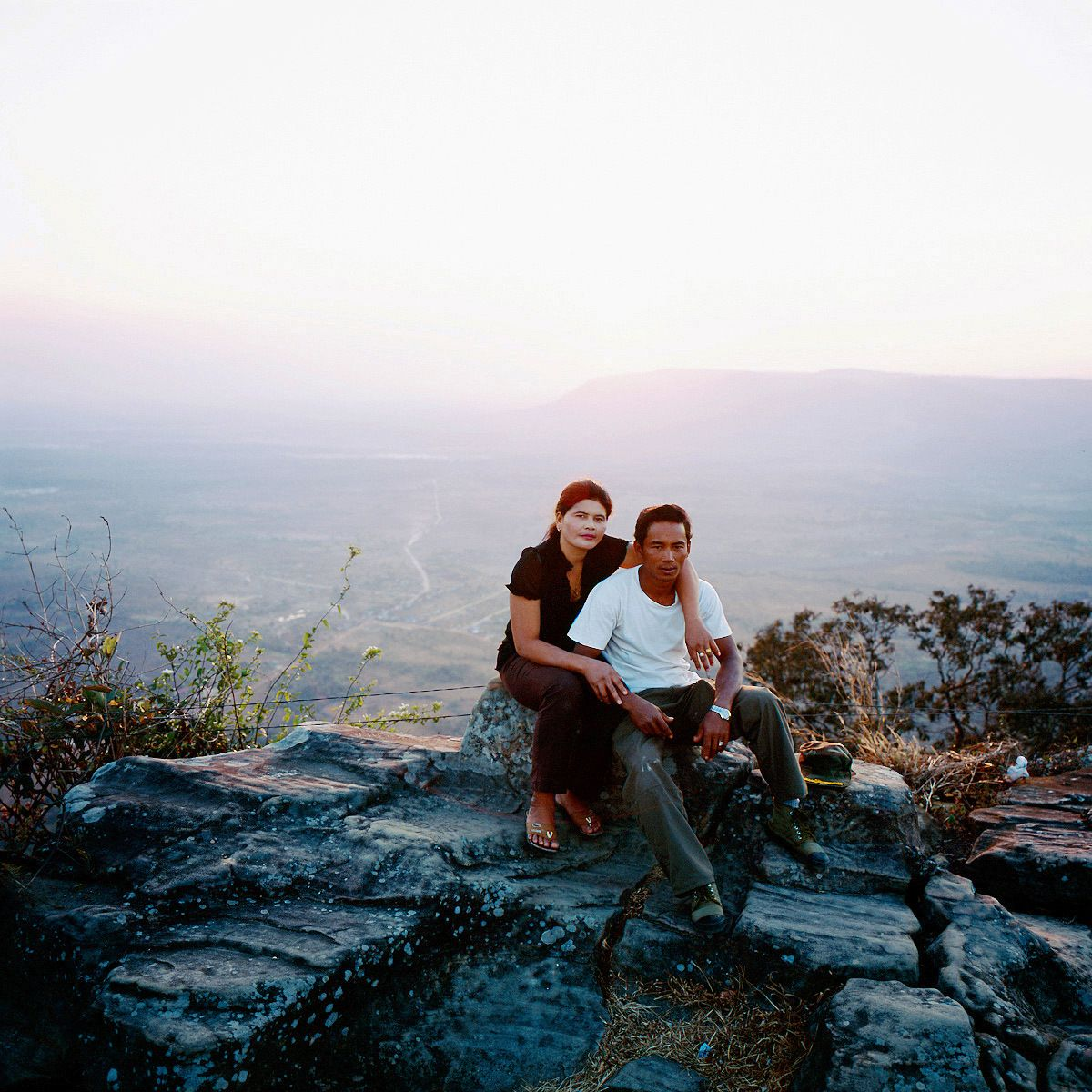 A former Khmer Rouge soldier, Vong, age 42, with his wife Mon. They are married two years ago, live together at the front lines.Preah Vihear temple. Cambodia, 2008