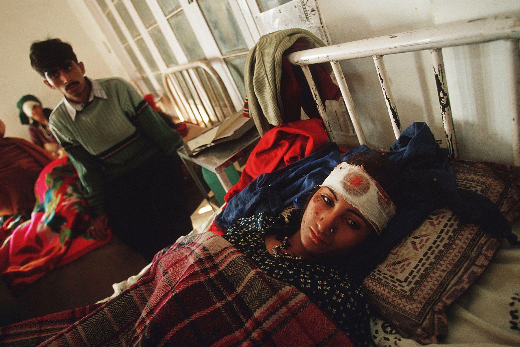 Injured civilian after cross fire