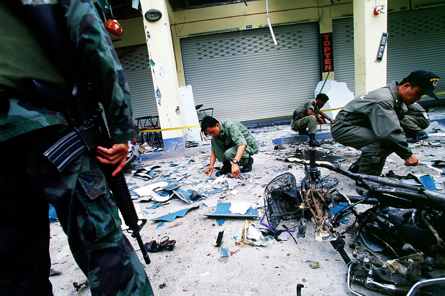 Bombs exploded on the street, killing three people and dozen injured.