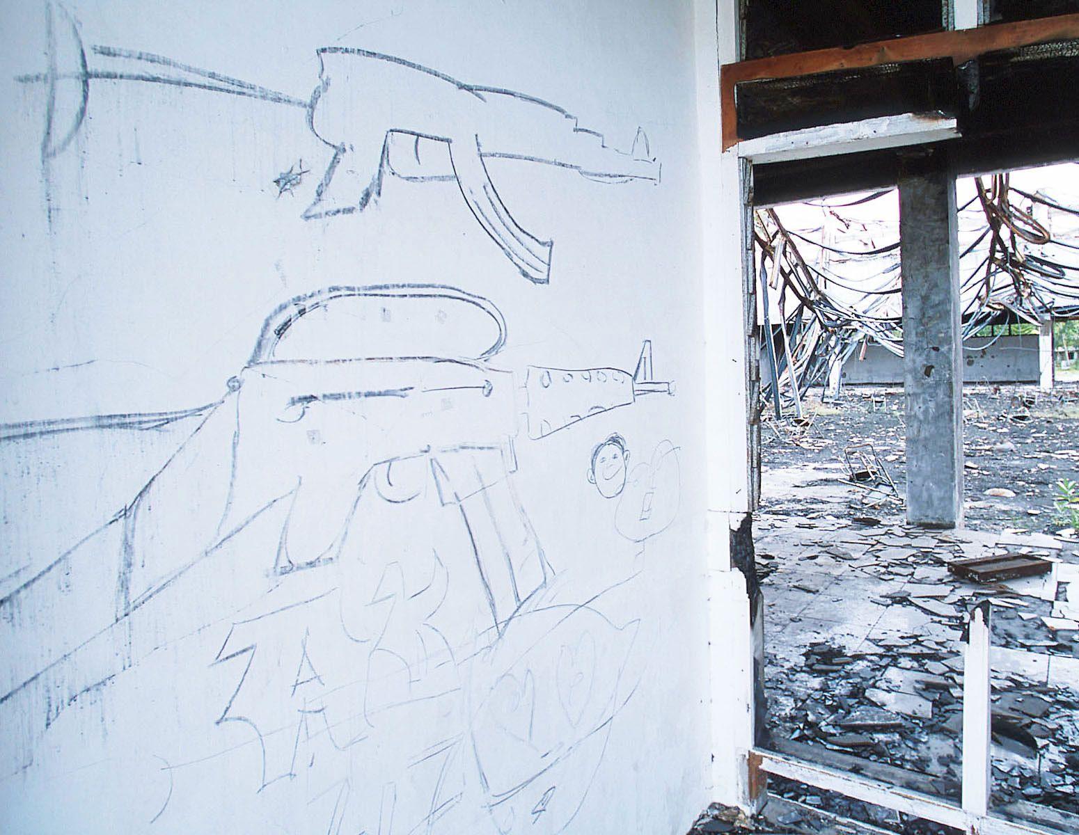 Graffiti on the wall.Syiah Kuala University, Banda Aceh, September 2001