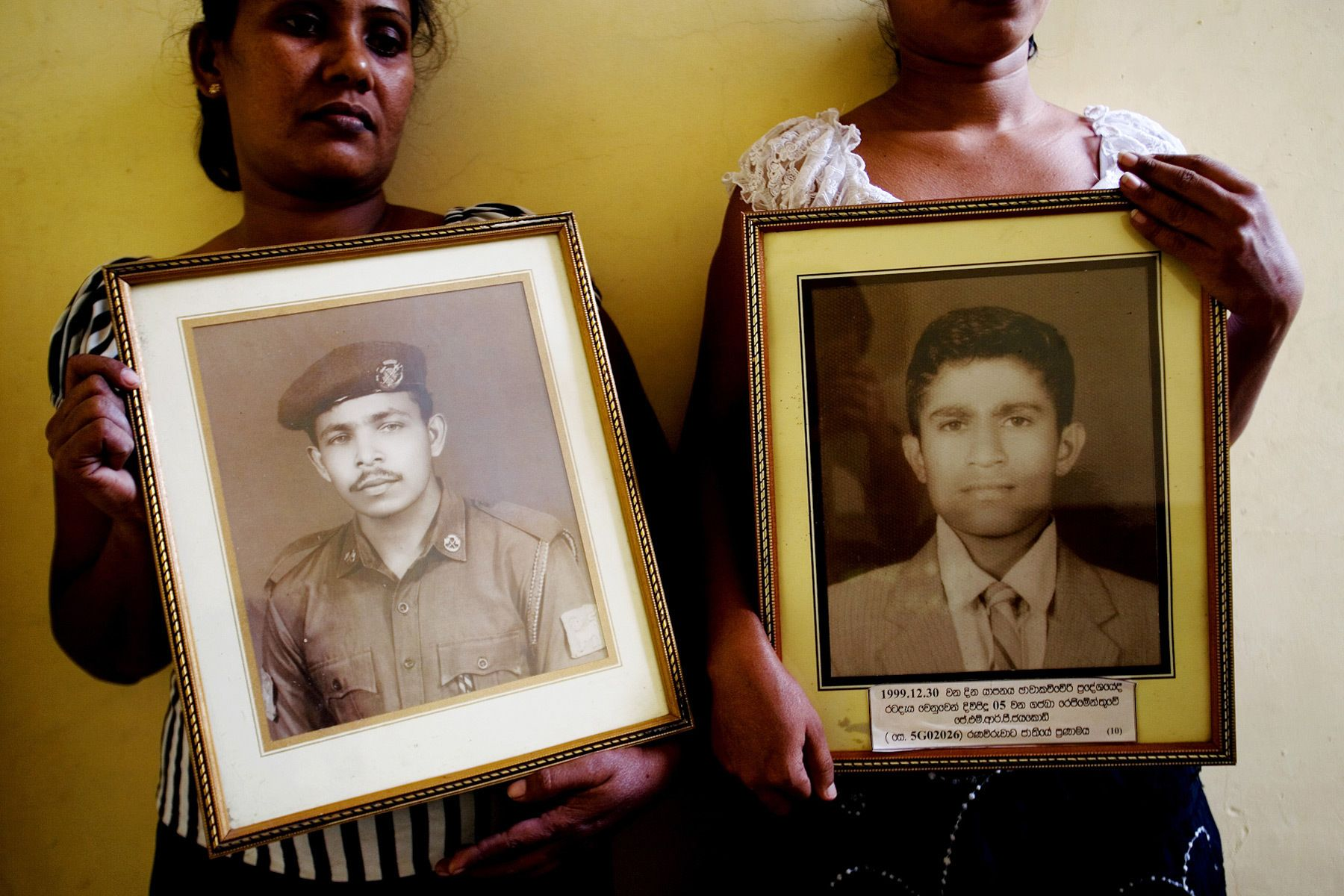 """We are sisters. We both had husbands who were Sri Lanka Army soldiers. And we both lost husbands in the war."""