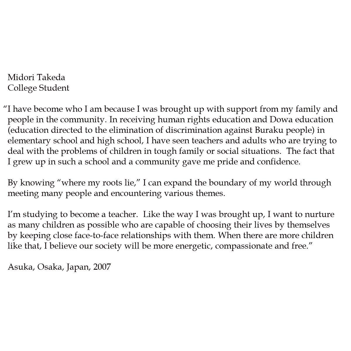 Midori Takeda. College Student.