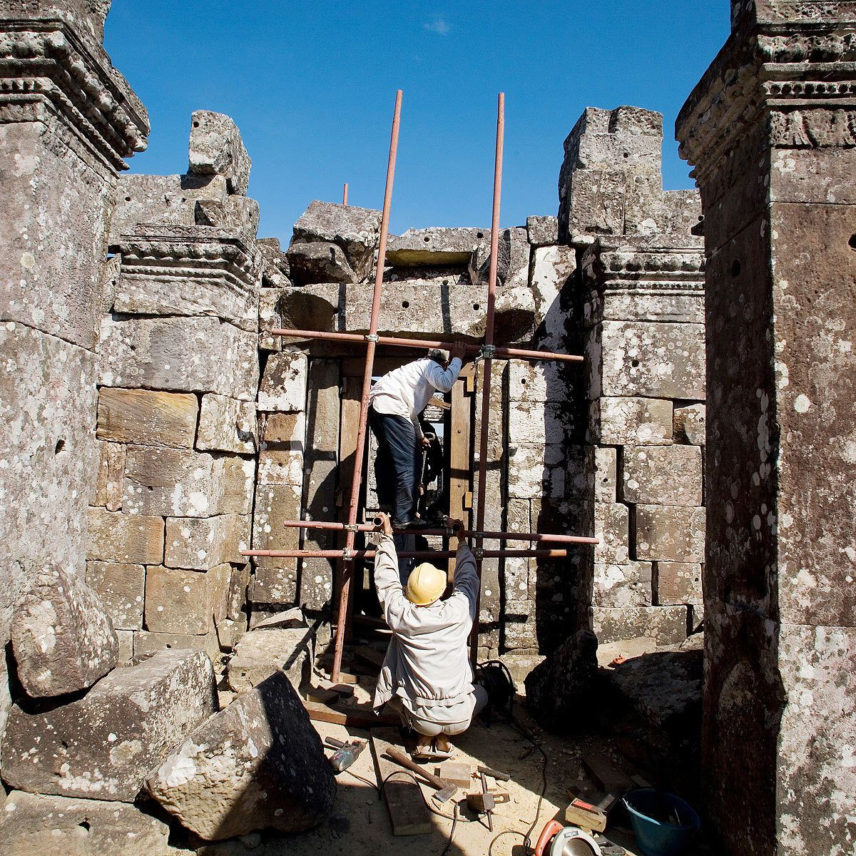 Restoration work at the Temple.