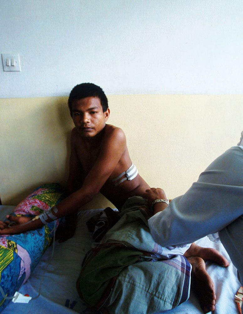 A tortured victim.Zainal Abidin hospital.