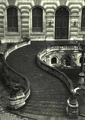 Steps around the Louvre in Paris - France