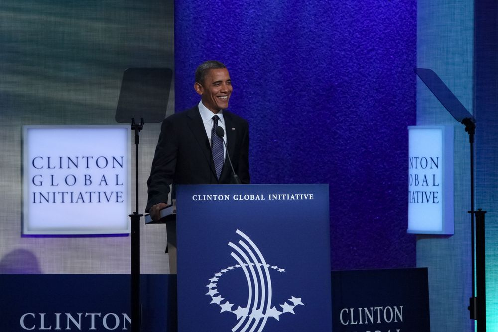 U.S. President Barack Obama delivers remarks during day two of the Clinton Global Initiative annual meeting.September 24, 2012New York City