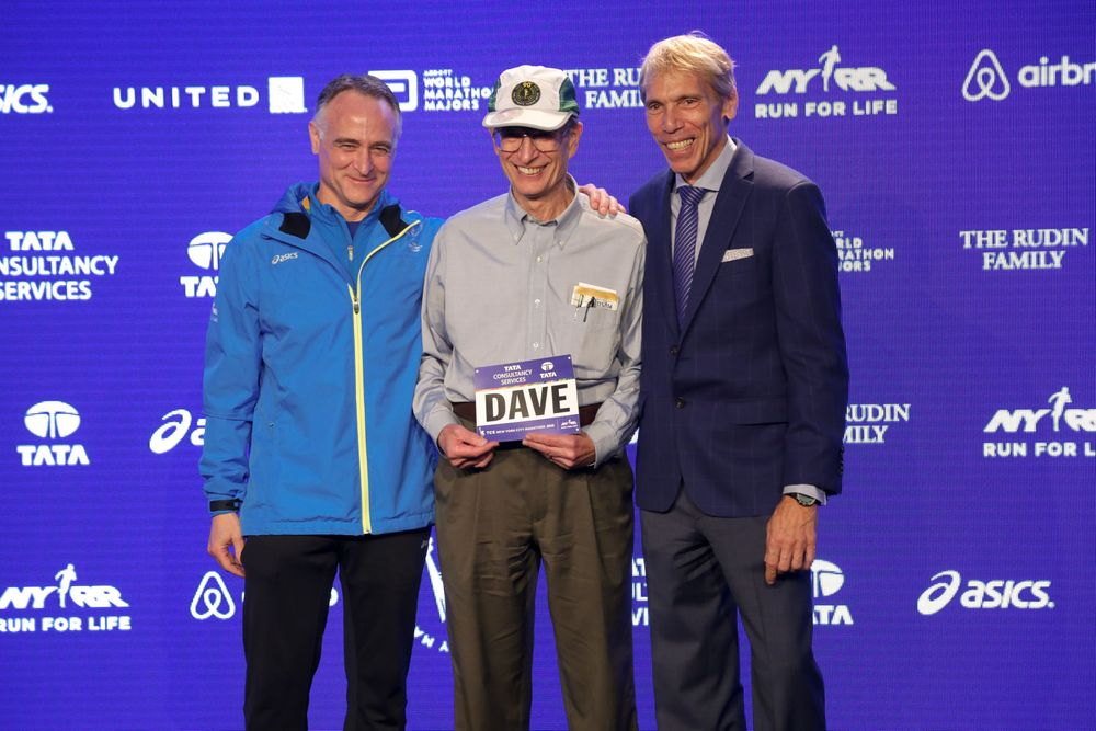 (L-R) President and CEO of the New York Road Runners Michael Capiraso, runner Dave Obelkevich and President of Events, New York Road Runners Race Director, TCS New York City Marathon Peter Ciaccia attend the Faces of the 2015 New York City Marathon Media P