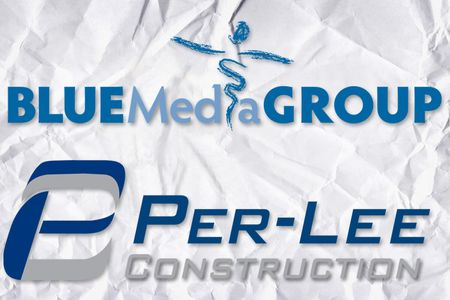 Blue Media Group logo andPer-Lee Construction logo