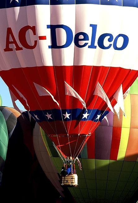 "Hot Air Balloon Photography Albuquerque NM - The ""AC Delco Balloon"" in Flight - A Beautiful Combination of Red White and Blue"