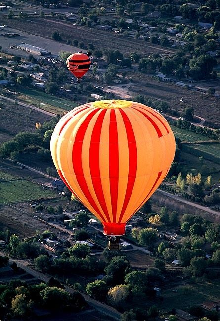 Balloon Photography Albuquerque NM - Bright Sunny Colors against a Beautiful Landscape Below