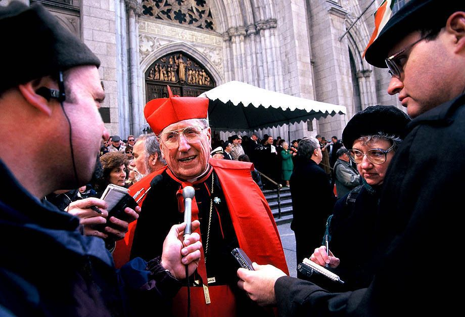 "Journalism Photography Albuquerque NM - John ""Cardinal"" O'Connor speaks with the press on the steps of St. Patrick's Cathedral in NYC on St. Patrick's Day"