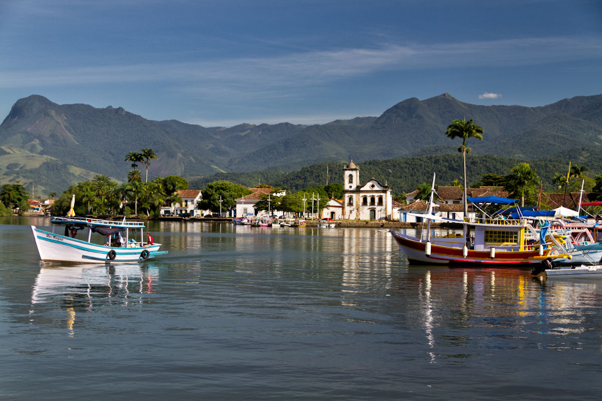 Bay view of Paraty - little old colonial fisherman town on the coast of Rio de Janeiro, Brazil