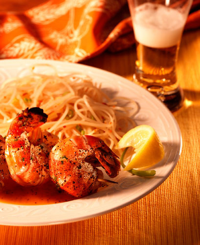 lisa bishop food stylist- grilled shrimp with lemon angel hair pasta