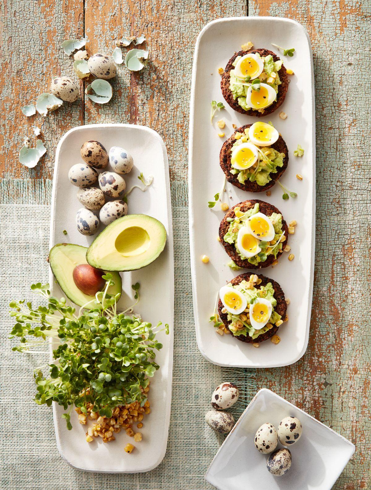 lisa bishop food stylist- avocado toast with quails eggs